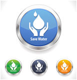 Save water badge set, water drop showing save water concept. Vector file Stock Photo