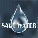 Save water, blue water drop, water saving Stock Photo
