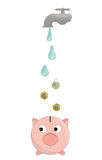 Save the water concept. The concept of saving water as a way to save money too.  Drops of water transforming in euro coins falling inside a money pig Stock Photo