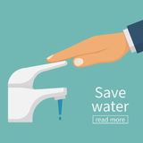 Save water concept. The man closes hand faucet. Shut off the water. Vector illustration flat design. Isolated on background. Care for saving resources Stock Photos