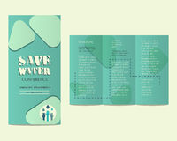 Save water conference flyer invitation template Stock Images
