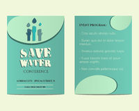 Save water conference flyer and poster invitation Royalty Free Stock Photography