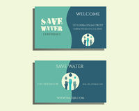 Save water conference visiting card template with Stock Photo