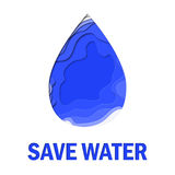 Save water 3d abstract paper cut illlustration of water drop. Vector colorful template in carving art style. Stock Images