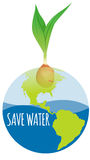 Save water diagram with earth and plant Stock Image