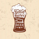Save water.drink beer vector illustration. lettering composition Royalty Free Stock Photo