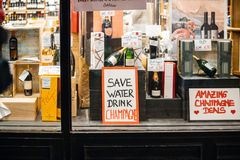 Save water drink champagne alcohol store in London United kingdo Royalty Free Stock Image