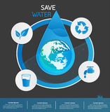 Save water info graphic design vector or background Royalty Free Stock Photography
