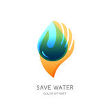 Save water  logo design template. Abstract transparent water drop shape in human hand. Stock Photography