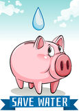 Save water with piggy bank Royalty Free Stock Images