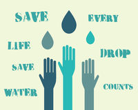 Save water poster concept with drops and hands Royalty Free Stock Images