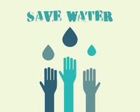 Save water poster concept with drops and hands Stock Image