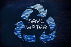 Save water (recycle symbol) Royalty Free Stock Images