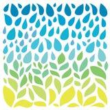 Save water - save life. Hand drawn drops and green Stock Photos