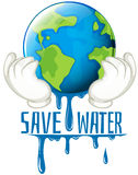 Save water sign with earth melting Royalty Free Stock Photos