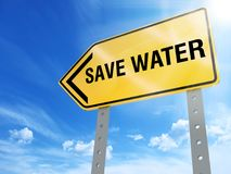Save water sign. On blue sky background,3d rendered Stock Photography