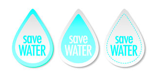 Save water stickers Royalty Free Stock Photo