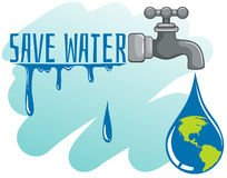 Save water theme with earth and faucet Royalty Free Stock Images