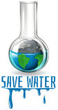 Save water theme with earth in flask Royalty Free Stock Photo