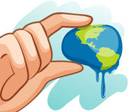 Save water theme with hand squeezing earth Stock Photos