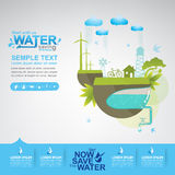 Save The Water Vector Concept Start Saving. Royalty Free Stock Images