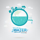 Save The Water Vector Concept Start Saving. Stock Photography