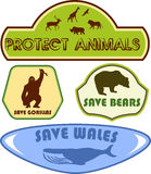 Save wild animals labels Royalty Free Stock Photos
