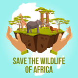Save the wildlife of Africa concept. Save the wildlife of Africa with hands caring zebra lion giraffe elephant and tree concept vector illustration Royalty Free Stock Images