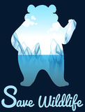 Save wildlife design with polar bear Stock Photo