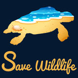 Save wildlife poster with sea turtle Royalty Free Stock Photo