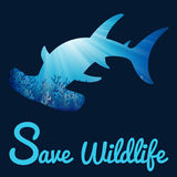 Save Wildlife poster with whaleshark Stock Photo