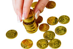 Save woman with stack of coins in the money Stock Images