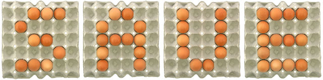 SAVE word from eggs in paper tray Stock Image