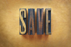 Save. The word SAVE written in vintage letterpress type Stock Images