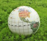 Save the World. Globe in green moss Stock Photo
