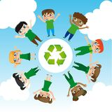 Save the world. Girls and boys with recycle logo around the world, Vector Illustration Stock Photos