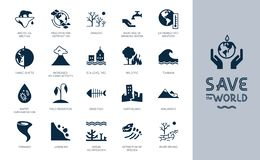 Different variants of environmental icons on the theme of ecology in flat style isolated on background. vector illustration