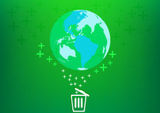 Save world with bin concept Stock Image