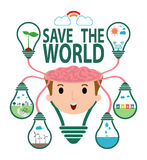 Save the World Concept , Ecology idea green bulb on brain , Green City, environment, ecology infographic, save the water Stock Photo