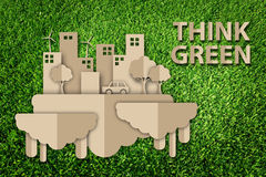 Save the world concept. Paper cut of eco on green grass royalty free illustration