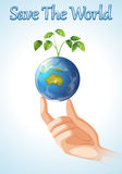 Save the world design with earth and plant Royalty Free Stock Photos