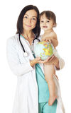 Save the world. Doctor and baby holding globe. Isolated on white Royalty Free Stock Photos