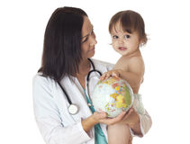 Save the world. Doctor and baby holding globe. Isolated on white Royalty Free Stock Photography