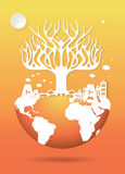 Save the world, Dry tree on a deforested globe Royalty Free Stock Images