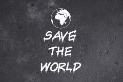 Save the world graffiti on grunge wall vector illustration
