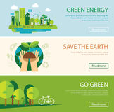 Save the world and green energy concept web banner Royalty Free Stock Images