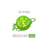 Save the world green planet concept Stock Photo