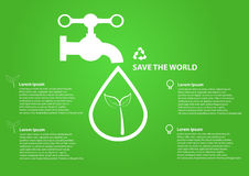 Save world icon water drops with faucet Royalty Free Stock Image