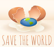 Save the world poster with cracking egg Stock Image