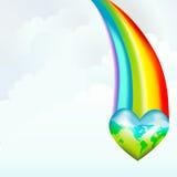 Friendly Earth Rainbow Heart Royalty Free Stock Photography